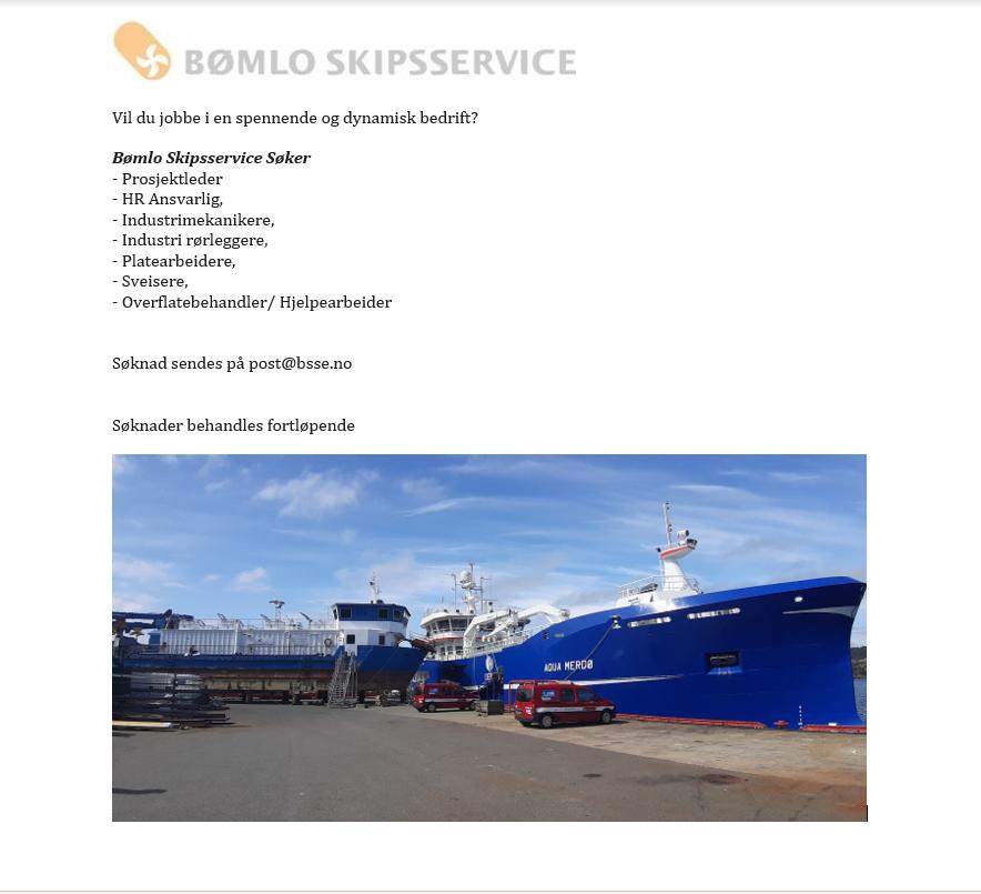 Bømlo Skipsservice Søker Etter Flere Dyktige Medarbeidere